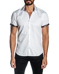 Jared Lang Woven Short Sleeve Trim Fit Shirt - White