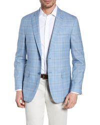 Hart Schaffner Marx Light Blue Plaid Two Button Notch Lapel New York Classic Fit Wool Sport Coat