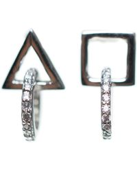 CZ by Kenneth Jay Lane - Cz Accent Mismatched Geometric Stud Earrings - Lyst