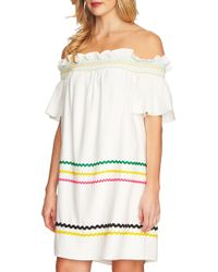 Cece by Cynthia Steffe - Smocked Rickrack Off The Shoulder Dress - Lyst