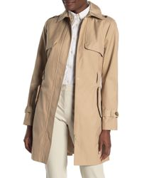Cole Haan Detachable Hood Faux Leather Trim Trench Coat - Natural