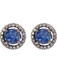 Adornia Sterling Silver Echo Blue Sapphire & Champagne Diamond Halo Stud Earrings
