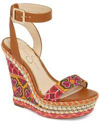 Jessica Simpson - Alinda Embellished Wedge Sandal (women) - Lyst