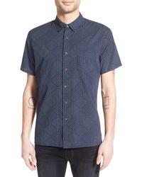 Life After Denim | 'boro' Trim Fit Short Sleeve Quilt Print Weave Shirt | Lyst
