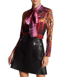 Analili - Printed Knit & Woven Self-tie Blouse - Lyst