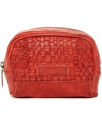 Liebeskind Berlin Ava Leather Woven Cosmetic Bag - Red