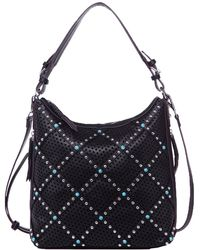 Chinese Laundry Ayo Perforated And Studded Hobo - Black
