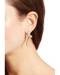 Betsey Johnson Snake Front & Back Earrings - White