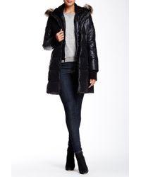 BCBGMAXAZRIA Faux Fur Trim Down Coat - Black