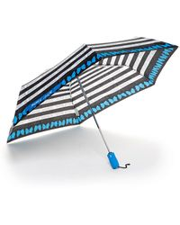 Betsey Johnson Auto Folding Print Umbrella - Blue