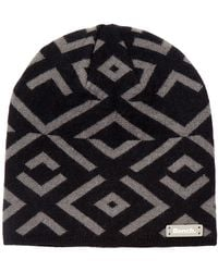 Bench - Jet Black Patterned Knit Cuffed Beanie - Lyst