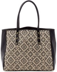 San Diego Hat Company | Woven Straw Faux Leather Tote | Lyst