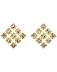 House of Harlow 1960 - Embellished Grid Square Stud Earrings - Lyst