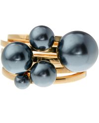 Vince Camuto - Black Simulated Pearl Ring Set - Set Of 5 - Size 7 - Lyst