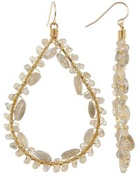 Native Gem Yellow Gold Filled Canoodle Labradorite Beaded Open Teardrop Earrings - Metallic