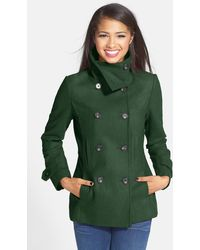 Thread & Supply Double Breasted Peacoat - Green
