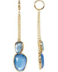 Catherine Malandrino - Double Chain Stone Drop Earrings - Lyst