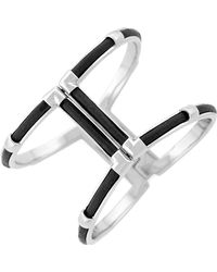 Cole Haan - Leather Inlay T-bar Hinge Bangle - Lyst