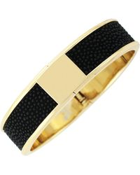 Cole Haan - 12k Gold Plated Wide Leather Inlay Hinge Bangle - Lyst