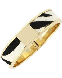 Cole Haan - 12k Gold Plated Wide Genuine Calf Hair Inlay Hinge Bangle - Lyst