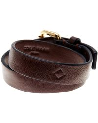 Cole Haan - Brown Leather Double Wrap Bracelet - Lyst