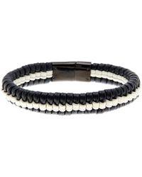 Cole Haan Black & White Woven Leather Bracelet