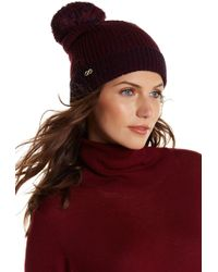 Cole Haan - Thermal Grid Pompom Beanie - Lyst