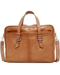 Cole Haan Dual Zip Top Leather Briefcase - Brown