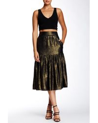 Twelfth Street Cynthia Vincent Metallic Midi Skirt - Black