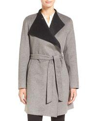 Calvin Klein - Belted Wrap Coat - Lyst