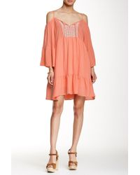 Peach Love California - Long Sleeved Embroidered Swing Dress - Lyst