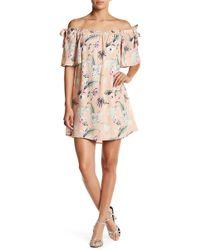 Peach Love California - Tropical Off-the-shoulder Dress - Lyst