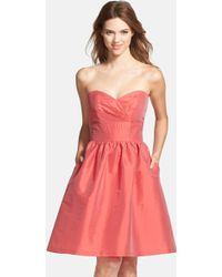 Alfred Sung - Strapless Satin Fit & Flare Dress - Lyst