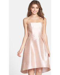 Alfred Sung - Strapless Hi-lo Dupioni Dress - Lyst