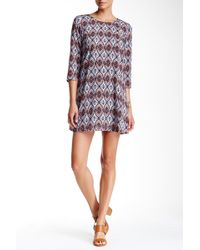 Mimi Chica - Elbow Length Sleeve Printed Shift Dress - Lyst