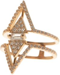 Native Gem Rose Gold Vermeil Pave Double Triangle Ring - Metallic