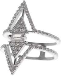 Native Gem Sterling Silver Pave Double Triangle Ring - Metallic