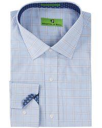 Bristol & Bull - Flower Trim Double Check Plaid Regular Fit Dress Shirt - Lyst