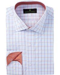 Bristol & Bull - Long Sleeve Trim Fit Graph Plaid Dress Shirt - Lyst