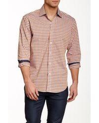 Bristol & Bull - Orange & Grey Check Long Sleeve Modern Fit Shirt - Lyst