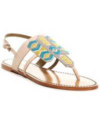 Cynthia Vincent - Fairfax Embroidered Leather Sandal - Lyst