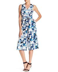 Donna Ricco - Floral Print Crop Leg Jumpsuit - Lyst
