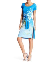 Sienna Rose - Printed & Belted Matte Jersey Dress - Lyst