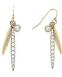 Nicole Miller - Dangling Cz Bar Earrings - Lyst