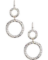 Simon Sebbag - Sterling Silver Hammered Double Ring Earrings - Lyst