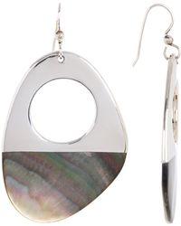 Simon Sebbag - Sterling Silver Asymmetrical Half Dipped Tahitian Black Pearl Drop Earrings - Lyst
