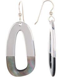 Simon Sebbag - Sterling Silver Half Dipped Tahitian Black Pearl Rectangle Drop Earrings - Lyst