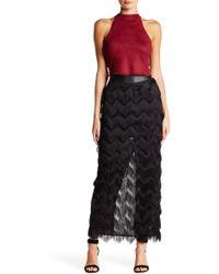 Rebecca Minkoff Swan Genuine Leather Banded Maxi Skirt - Black