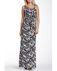 Fraiche By J - Printed Racerback Cowl Neck Maxi Dress - Lyst