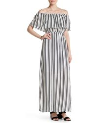 Fraiche By J - Off-the-shoulder Stripe Maxi Dress - Lyst
